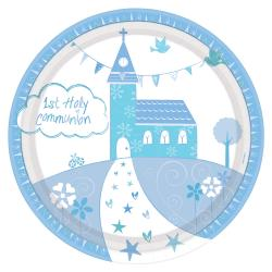 Communion Church Blue Paper Plates - 23cm (8pk)