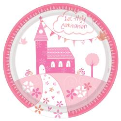 Communion Church Pink Paper Plates - 23cm (8pk)