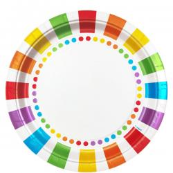 Rainbow Party Dinner Plates - 23cm Paper Party Plates (8pk)