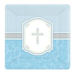 Blessing Blue Square Paper Plates 25.4cm (8pk)