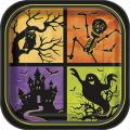 """Halloween Haunted House 9"""" Square Paper Party Plates (8pk)"""