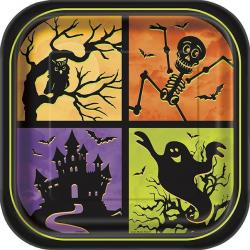 "Halloween Haunted House 9"" Square Paper Party Plates (8pk)"