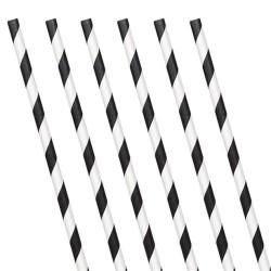 Black Stripe Paper Straws (24 Pack)