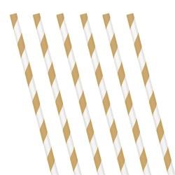 Gold Stripe Paper Straws (24 Pack)