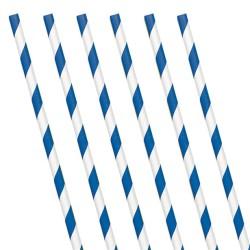 Royal Blue Stripe Paper Straws (24 Pack)