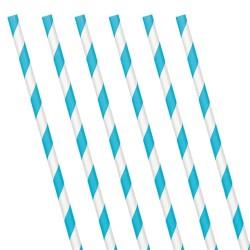 Caribbean Blue Stripe Paper Straws (24 Pack)