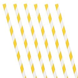 Sunshine Yellow Stripe Paper Straws (24 Pack)