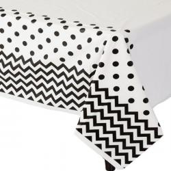 Black Polka Dot & Chevron Plastic Tablecover - 1.4m x 2.6m