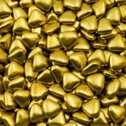 Gold Mini Heart Chocolate Dragées - 1KG