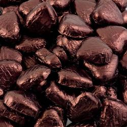 Foil Wrapped Chocolate Hearts - Brown- 100 Hearts