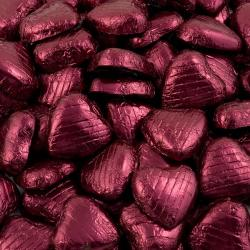 Foil Wrapped Chocolate Hearts - Burgundy - 100 Hearts