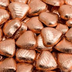 Foil Wrapped Chocolate Hearts - Copper - 100 Hearts
