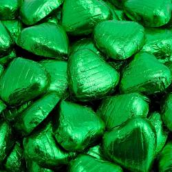 Foil Wrapped Chocolate Hearts - Emerald Green - 100 Hearts