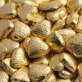 Foil Wrapped Chocolate Hearts - Gold - 100 Hearts