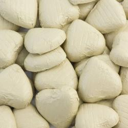 Foil Wrapped Chocolate Hearts - Ivory - 100 Hearts