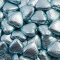 Foil Wrapped Chocolate Hearts - Light Blue - 100 Hearts
