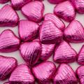 Foil Wrapped Chocolate Hearts - Pink - 100 Hearts