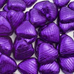 Foil Wrapped Chocolate Hearts - Purple - 100 Hearts