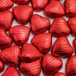Foil Wrapped Chocolate Hearts - Red - 100 Hearts