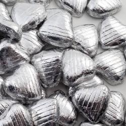 Foil Wrapped Chocolate Hearts - Silver - 100 Hearts