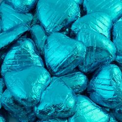 Foil Wrapped Chocolate Hearts - Turquoise - 100 Hearts