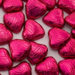 Foil Wrapped Chocolate Hearts - Cerise - 100 Hearts