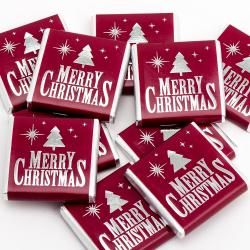 Merry Christmas – Burgundy & Silver Neapolitans - 100 Pack