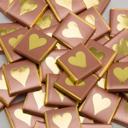 Rose Gold Heart Chocolate Neapolitans - 100 Pack