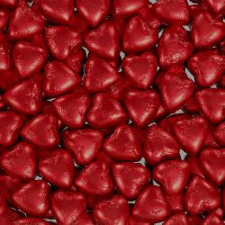 Foil Wrapped Milk Chocolate Hearts - Red - 1kg